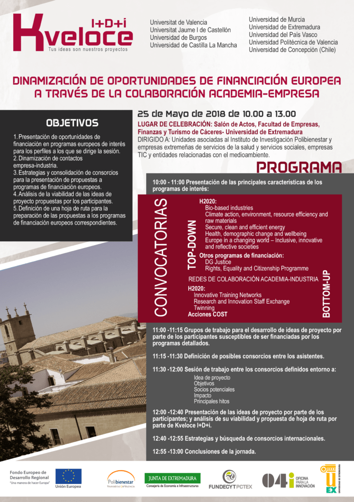 Programa de la jornada en Cáceres sobre convocatorias europeas