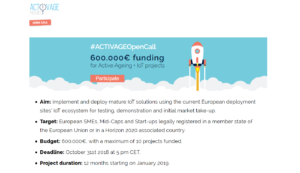 ACTIVAGE - 1st Open Call - Tecnología y envejecimiento activo